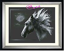 Лунная лошадь (Фон - черная канва)