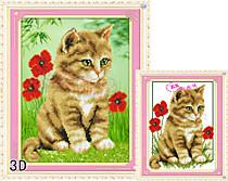 Котенок с маками (Фон - белая канва)