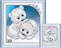 Полярные медведи (Фон - белая канва)